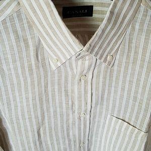 17 3/4 Canali Linen Shirt White Tan